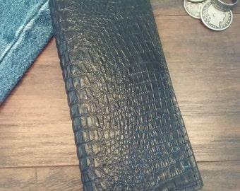 Leather Wallet, Handmade Genuine Leather Men's Wallet, Cocodile Wallet, Long Wallet