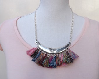 Tassel necklace, boho necklace, tassel pendant, gypsy necklace, hippy pendant, summer jewellery. Bohemian jewellery