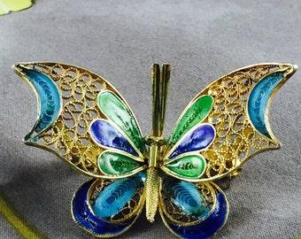 Silver Vermeil Plique a Jour Enamel Butterfly Brooch/Pin
