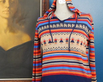 SALE!  Vintage 70's Striped Sweater | Hoodie | South American Print | Size Extra Small
