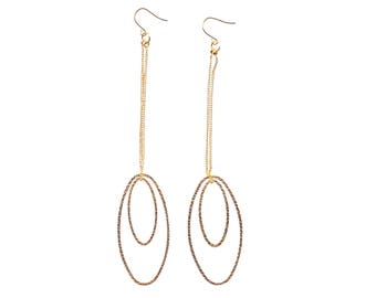 Long Gold Titanium Earrings Dangle Textured Oval Hypoallergenic Earrings For Sensitive Ears Modern Hoop Earrings Nickel Free Earrings