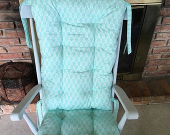 Organic Folksy Daisy Blue Rocking Chair Cushions, Glider Replacement Pads, Rocker Cushions, Wooden Rocking Chair Pads