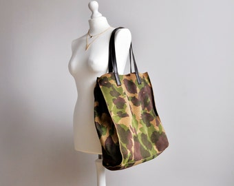 Large Camouflage Leather Tote Bag, High Quality Tote with removable cosmetic bag inside, Large Leather Laptop bag, Leather Shoulder Bag