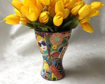 Multi-colored Vase, Unique Vase, Decoupage Vase, Decorative Vase, Vase with Flowers, Brightly Colored Vase, Contemporary Vase