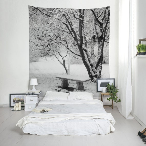 Winter Landscape Wall Tapestry, Snow Tapestry, Winter Photography, Snow Wall Art, Wall Tapestries, Home Decorating, Black And White