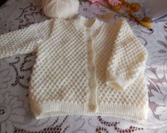 CARDIGAN girl 4 years knitted hand - Pearl buttons - nice imitation honeycomb point