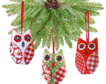 OWL Christmas Tree Decoration Printed Sewing PATTERN & Full Instructions Make Your Own 10 cm Tall