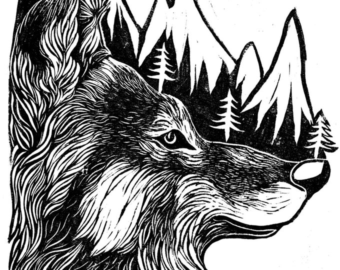 Mountain Wolf Original Illustration Print Linocut - A4 Wild, Animals, Wolves