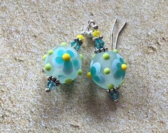 Blue Flower Lampwork Earrings with Flower, Dangle Earrings,  Flower Earrings, Lampwork Floral Earrings, SRA Lampwork