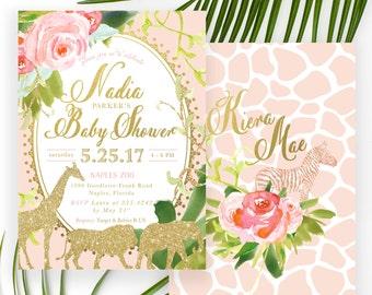 Glam Safari, Jungle Girl Baby Shower Invitation, Blush Pink, Gold Giraffe, Lion, Elephant & Zebras, Flowers, Tropical Leaves - Nadia