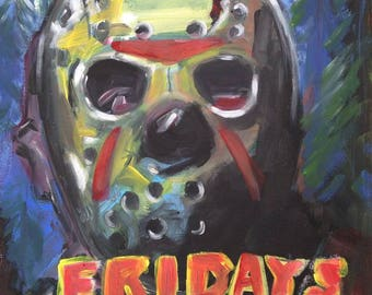 Original Painting of Jason Voorhees, Friday 13th, acrylic on canvas by Simon Pritchard. Slasher, Horror, Movie.