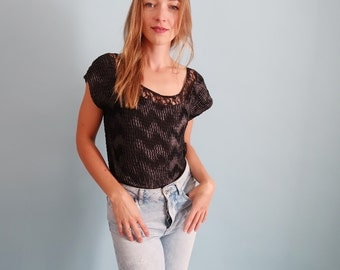 90s Vintage Scrunchy Black Tee with Lace Trim and Zig Zag Pattern!