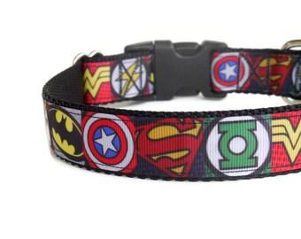 Nylon Superhero/Comic Strip Dog Collar (Buckle or Martingale)
