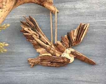 Driftwood Pelican / Small Coastal Decor / Ornament