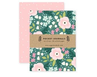 Whimsical Floral - Pocket Journal Set of 2