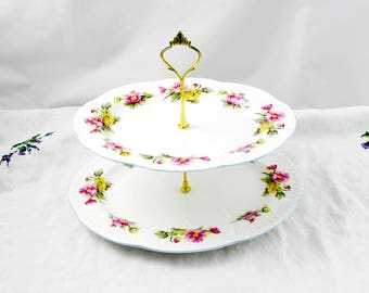 """Two Tier Cake Stand Made from Shelley """"Begonia"""" Oval Platters, Vintage Bone China, Shelley Cakestand"""