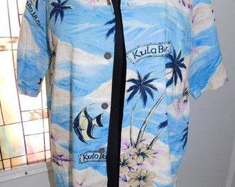 Vintage Hilo Hattie Shirt Hawaiian Shirt Tiki Shirt Aloha Shirt Kula Bay Blue Shirt