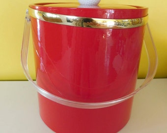 Vintage Red Golf Ice Bucket Red Vinyl Lucite Mod Ice Bucket  Red Retro Ice Bucket Golfing Ice Bucket