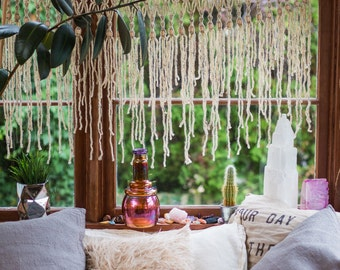 Modern Macrame Curtain Makes a Unique Window Hanging or Wall Art