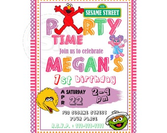Elmo Printable Invitation- Personalized Elmo Birthday DIY Digital File-Sesame Street Birthday Invitation with FREE Thank you Card