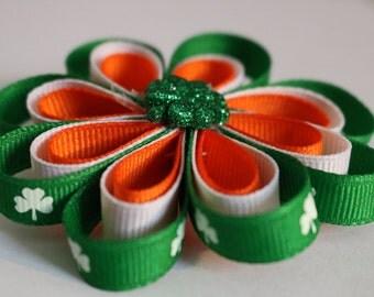 St Patrick's Day Hair Bow, Irish Hair Bow, Clover Hair Bow, Lucky Hair Bow