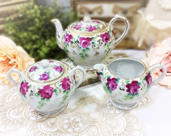 3 Piece Pink Floral English Teapot Set, Teapot, Creamer & Covered Sugar Bowl for Tea Time Tea Party, Baby Shower, Wedding, Gift #888