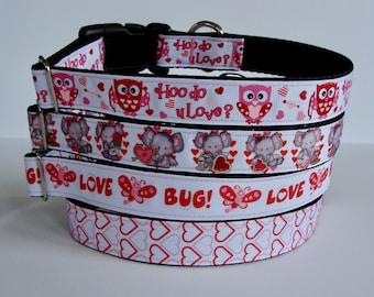 Valentine's Day Dog Collars Owl Hoo Do You Love, Elephants Heart, Love Bug, Hearts - READY TO SHIP!