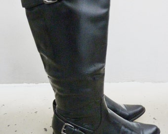 black Leather Boots,Biker Boots, Goth Lolita,Downtown Boots