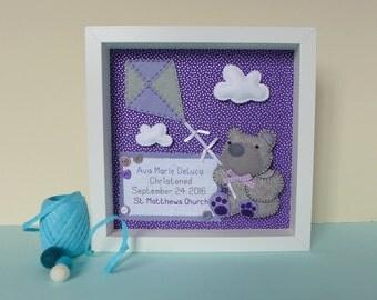 Christening gift bear - christening picture - gift for baby - Baptism Gift - Nursery art - New baby gift - Naming day gift