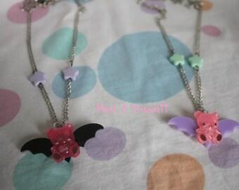 Creepy vampire teddy necklace
