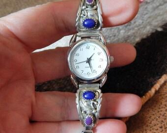 Native American Jewelry, quartz watch, Lapis watch, sterling, turquoise watch, Navajo, estate jewelry, womens jewelry