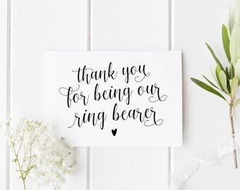 Thank You Ring Bearer Card, Ring Bearer Card, Wedding Thank You Card, Card For Ring Bearer, Calligraphy Ring Bearer Card, Our Ring Bearer