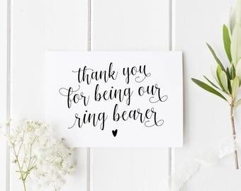Thank You Ring Bearer Card, Ring Bearer Card, Wedding Thank You Card, Card For Ring Bearer, Calligraphy Ring Bearer Card, Our Ring Bearer