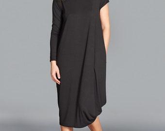 Black Midi Dress, Minimalist Dress, Plus Size Dress, Extravagant Dress, Trendy Dress, Short Sleeved Dress, Loose Dress, Gothic Dress