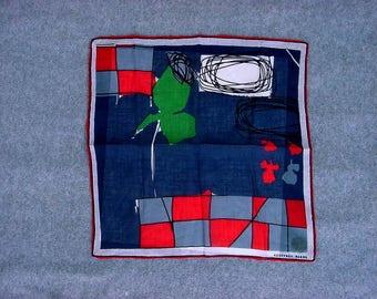 """Geoffrey Beene Abstract Handkerchief 1960's Vintage Pop Art Mod Designer Hankie Navy Background Cotton Modernist Hanky 13"""" Square"""
