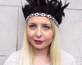 Black Gold Feather Headdress Festival Native American Headband Red Indian 2673
