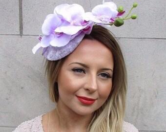 Lilac Light Purple Orchid Flower Fascinator Hat Statement Wedding Races Vtg 2742