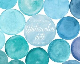 Watercolor Dots Clipart. Hand Painted Blue, Turquoise Watercolor Circle, Splotch Clip Art. Scrapbooking Frames, Bubbles. Blog Design Element