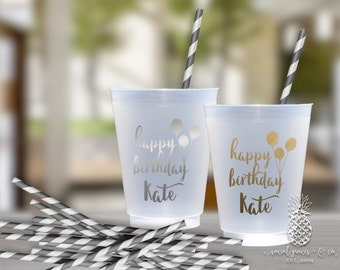 Birthday Party Cups | Personalized Frosted Cup | Monogrammed Cups | Personalized Plastic Cups | Birthday Ballons Cups | social graces Co.