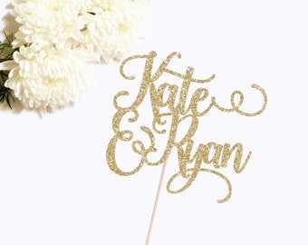 Custom Wedding Cake Topper - Custom Name Cake Topper - Custom Engagement Topper - Wedding Decor - Engagement Party Decor