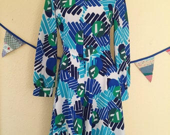 Fun & Funky Blue and Green 1970's Polyester Spring Dress Abstract Geometric Design