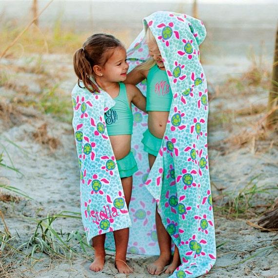 Monogrammed Beach Towel Kids Hooded Beach Towel Bath Towel With Hood Turtle Beach Towel Sea Turtles Childrens Pool Towel Highway12Designs