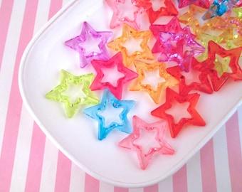 Multicolor Star Beads, Cute Multicolor Kawaii Embellishments #791