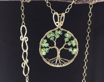Peridot Tree of Life August Birthstone 1st Anniversary Tree-Of-Life Necklace Gold Tree of Life Leo Virgo 16th Anniversary Shades of Greenery