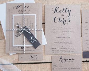 Sample invitation pack. Rustic kraft wedding invitation set. Sample pack sent to you. 'Byron'