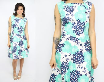 Vintage 60's Turquoise Blue Sundress / 1960's Barkcloth Cotton Dress / Hawaiian Floral / Women's Size XL