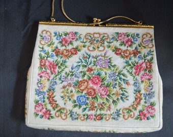 Petit Point Purse Vintage TAPESTRY Handbag Needlepoint Floral Design