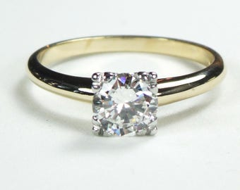 Vintage Diamond Ring Diamond Engagement Ring Round Brilliant Cut Solitaire 14k Gold and Platinum Diamond Engagement Approx .75 CTS