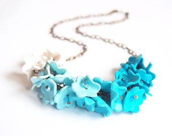 Ombre Blue Necklace ( turquoise necklace blue necklace bib necklace bridal jewelry floral jewelry polymer clay jewelry floral necklace )