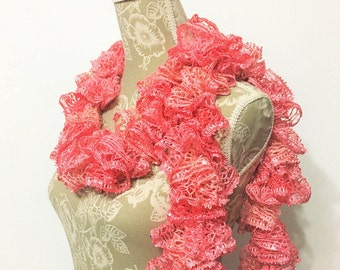 Peach Crochet Scarf, Crochet Ruffle Scarf, Crochet Scarf, Ready to Ship, Coral Scarf, Sequins Scarf, Frilly Scarf, Scarf, Gift for her
